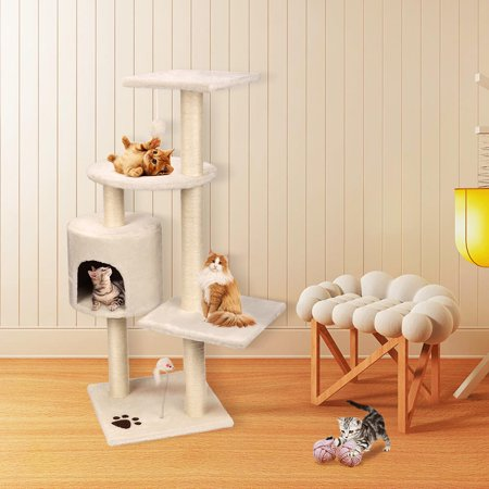 """44"""" Cat Tree with Sisal-Covered Scratching Posts, Multi Level Activity Center Kitty Condo Furniture (White) - image 3 of 8"""