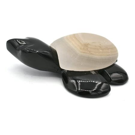 North American Box Turtles - Black And White Stone Sea Turtle Figure, 3