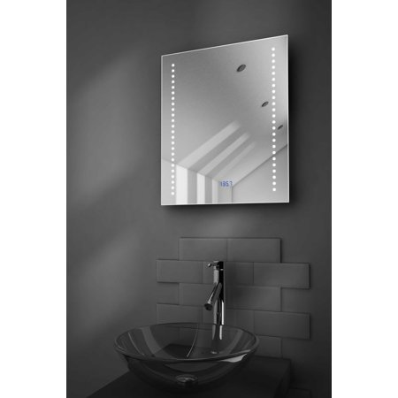 Dream Ultra Slim Bathroom Mirror With Clock Demisting Pad Sensor K190