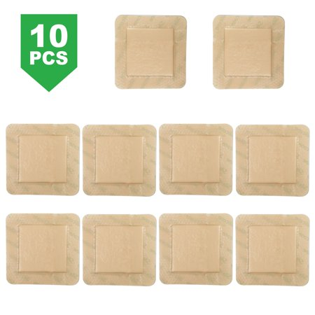 10 PCS Silicone Foam Dressing with Border, 4X4 in Waterproof Adhesive Dressing , (2.5X 2.5 in) Central Ultra Absorbent-Foam Square Dressing for Wound