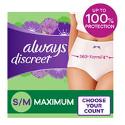 Always Discreet Incontinence Max Protection Underwear, Sm/Med, 32 Ct