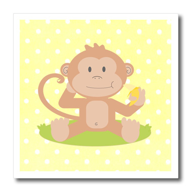 3dRose Print of Baby Monkey With Banana On Yellow - Quilt Square, 6 by 6-inch