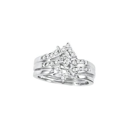 14kt White Gold Womens Marquise Diamond Bridal Wedding Engagement Ring Band Set 1/2 Cttw (Marquise Wedding Ring)