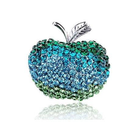 Green Granny Smith Sour Tree Apple Fruit Crystal Rhinestone Pin (Granny Smith Apple Trees)