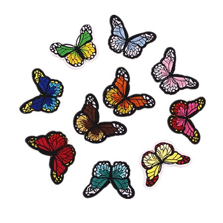 10 Colors Butterfly Patches for Clothing Iron on Embroidered Appliques Summer Clothes Fabric Badges DIY Apparel (Tech Applique)