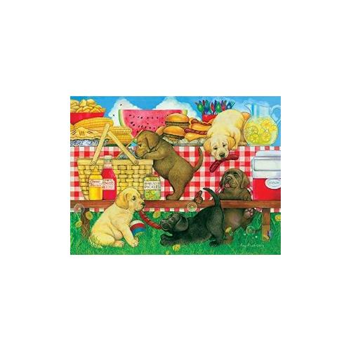 Picnic Puppies Jigsaw Puzzle 500 Piece Multi-Colored