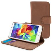 Snugg Distressed Brown Leather Galaxy S5 Flip Case - Wallet Case w/ Card Slots