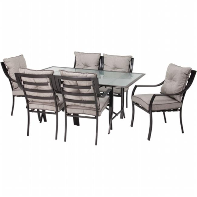 Lavallette 7-pc Dining Set - Glass Table plus 6 Cushion Chairs