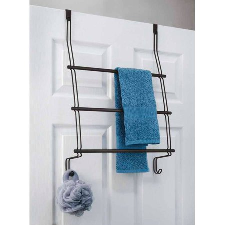 Over Shower Door Towel Rack (InterDesign Classico Over Shower Door Towel Rack for Bathroom, Matte Black )