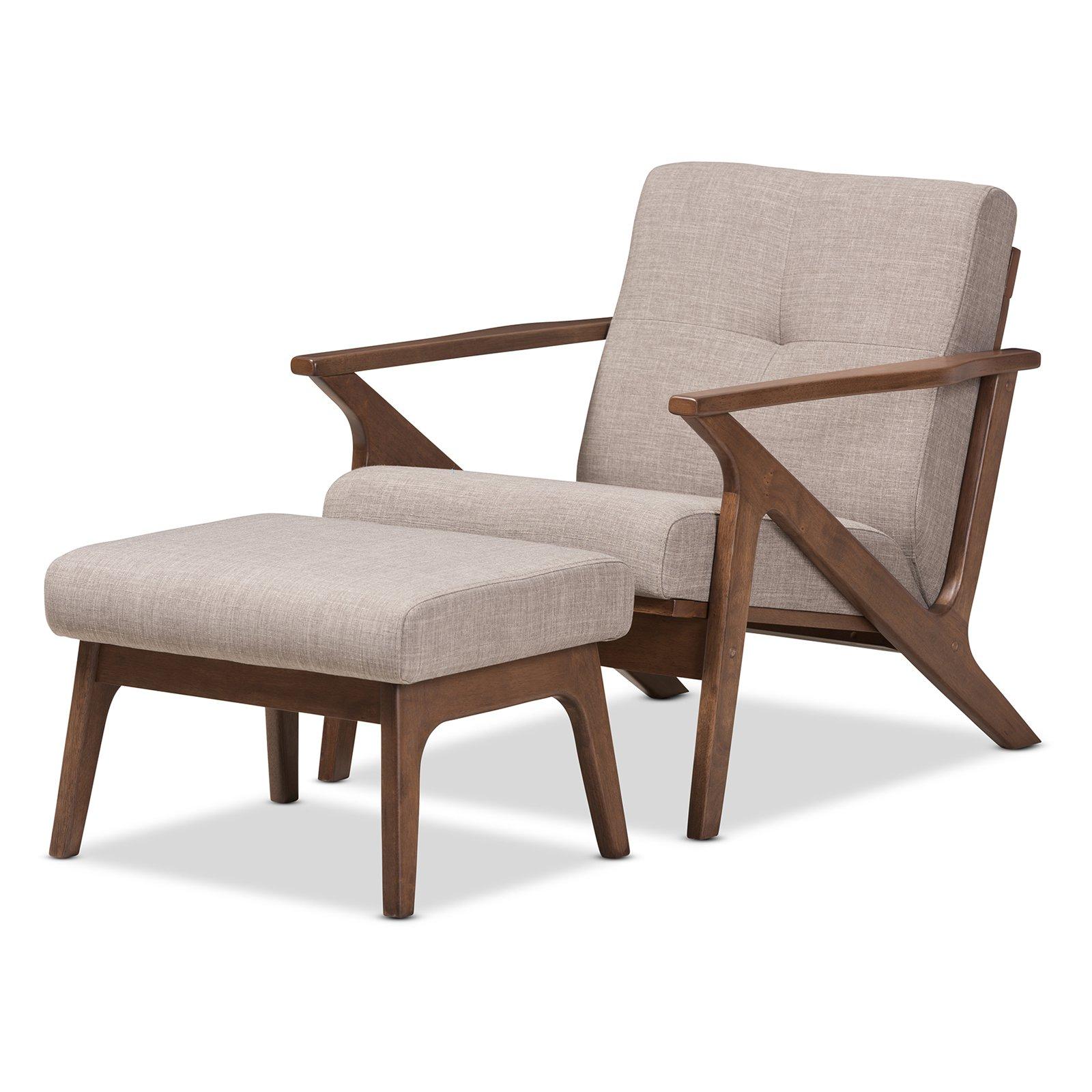 Baxton studio bianca mid century modern walnut wood light grey fabric tufted lounge chair and ottoman set walmart com