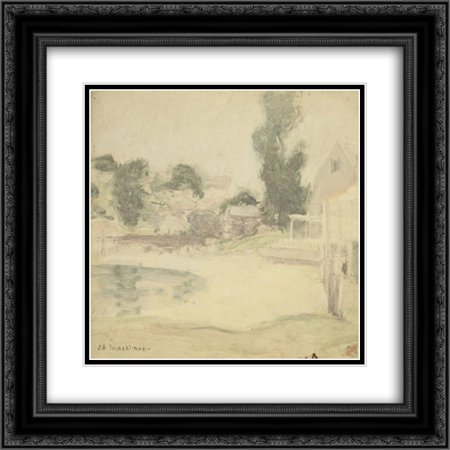 John Henry Twachtman 2x Matted 22x20 Black Ornate Framed Art Print 'The End of the Rain'