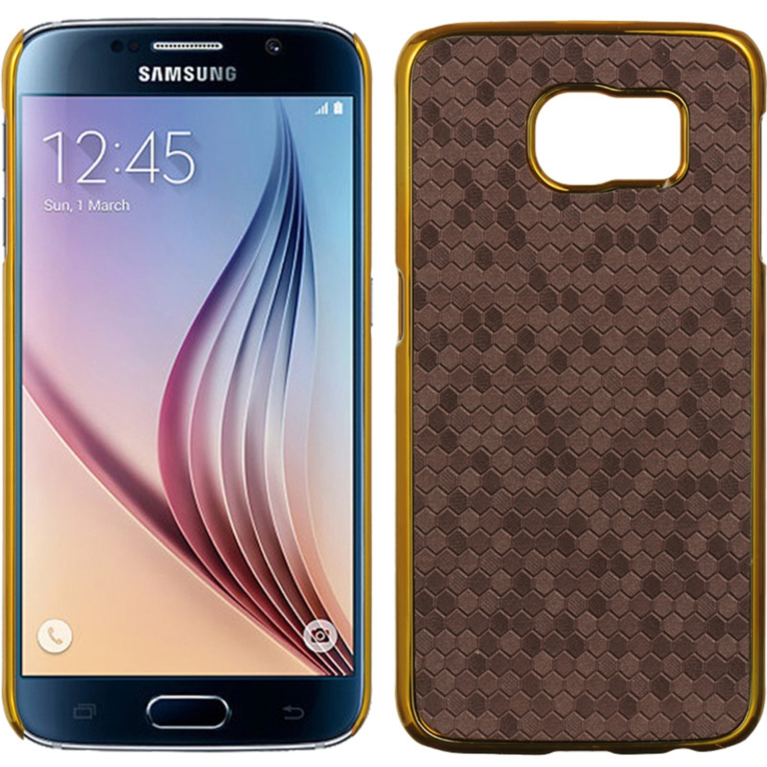 Samsung Galaxy S6 Case, by Insten Honeycomb Rubber Coated Hard Snap-in Case Cover For Samsung Galaxy S6 SM-G920