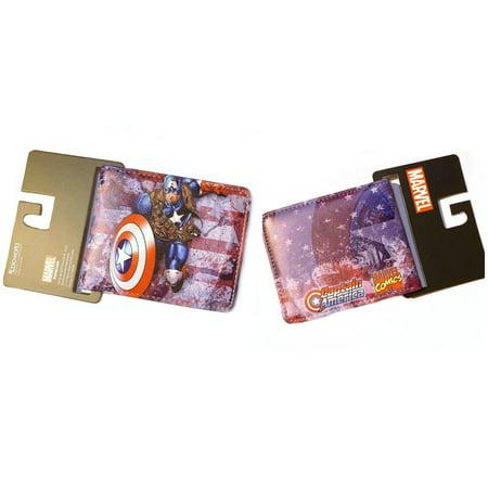 Superheroes Marvel Comics Avengers Captain America Bi-fold Mens Boys Wallet with Gift Box