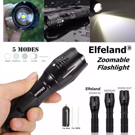 Elfeland 2000 Lumens 5 Modes LED Flashlight Torch Zoomable Waterproof Super Bright T6 LED Lamp Light ( Not Included Battery