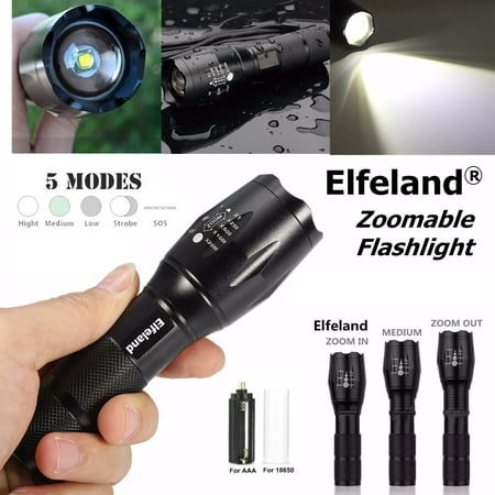 - Elfeland 2000 Lm LED Flashlight Torch 5 Modes Zoomable 8W Waterproof Super Bright T6 LED + 18650 Battery ( Not Included Battery )