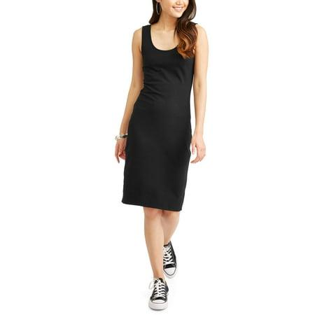 Juniors' Sleeveless Scoop Neck Body Con Midi Dress