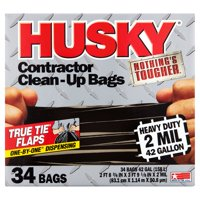 Husky Flap Tie Black Contractor Bag, 42 Gallon, 34 Count