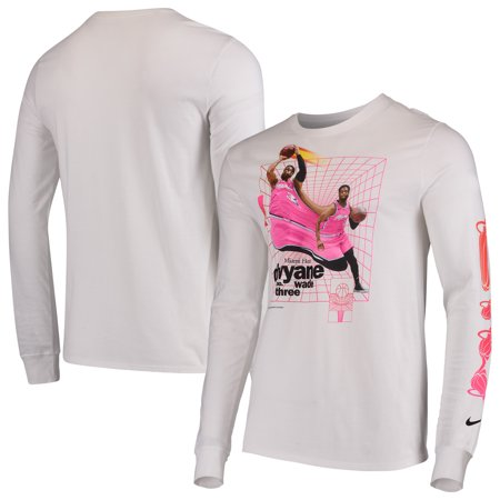 867e6f30 Dwyane Wade Miami Heat Nike Time Warp Long Sleeve T-Shirt - White ...