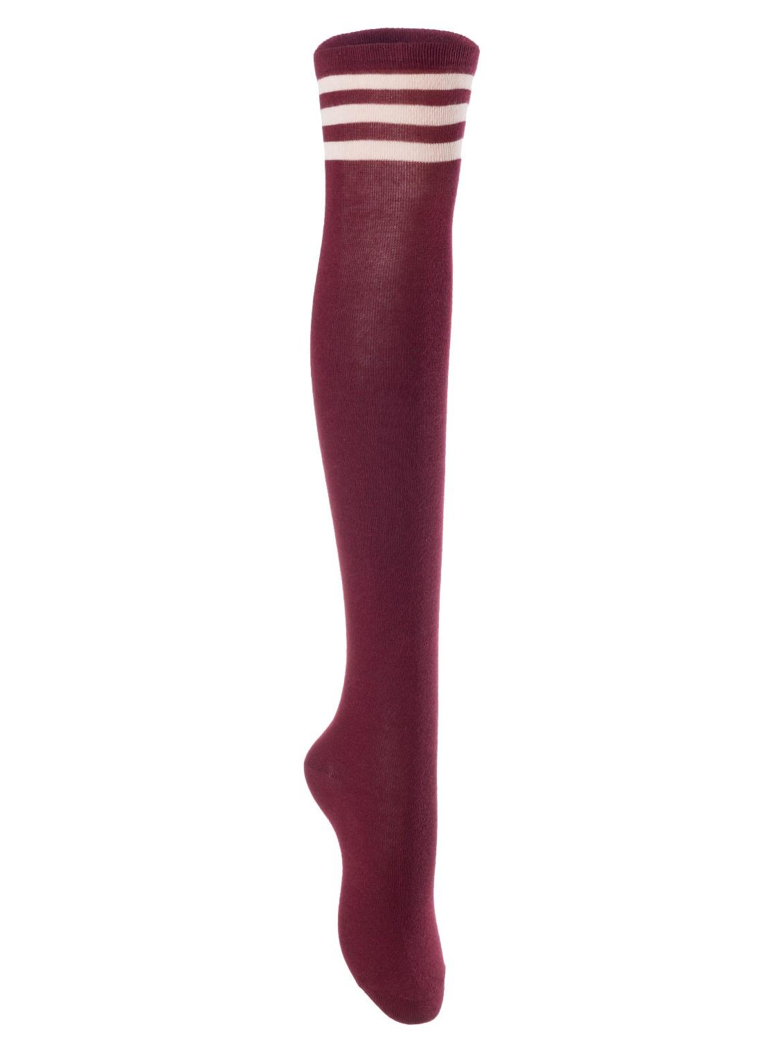 Big Girls' Women's 4 Pairs Over Knee High Thigh High Cotton Socks Leg Wamers Size L/XL(Wine) 4p1c7
