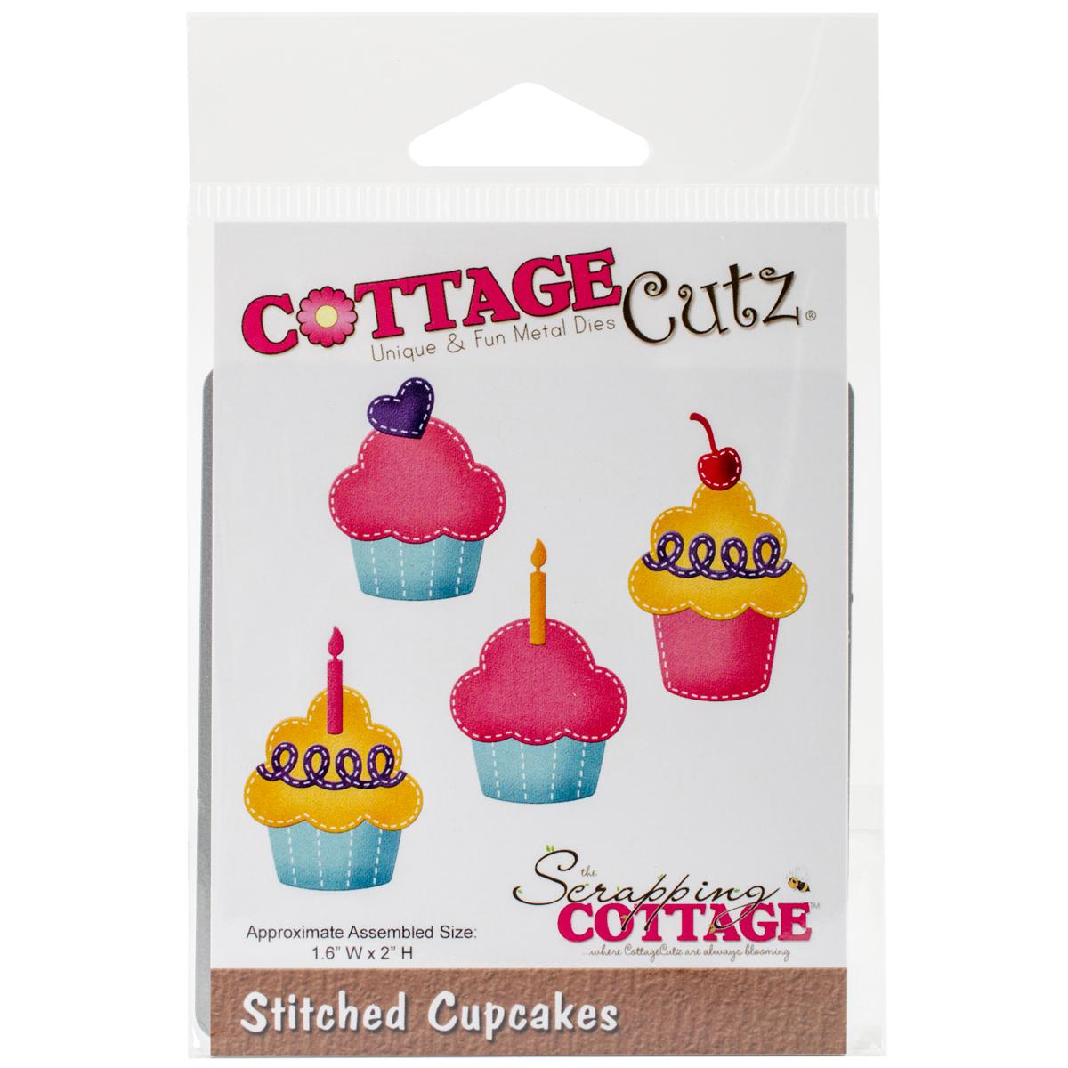 """CottageCutz Die, Stitched Cupcakes, 1.6"""" x 2"""""""