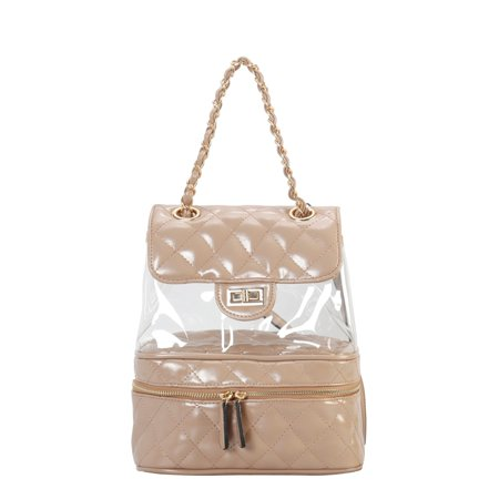 402d5a3c751 Diophy - Diophy PU Leather Fashion Clear Quilted Backpack - Walmart.com
