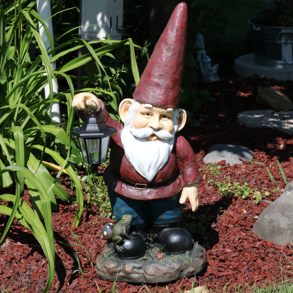 Sunnydaze Garden Gnome Sammy the Solar Lantern Lawn Statue, Large Outdoor Yard Figurine, 29 Inch Tall by Sunnydaze Decor