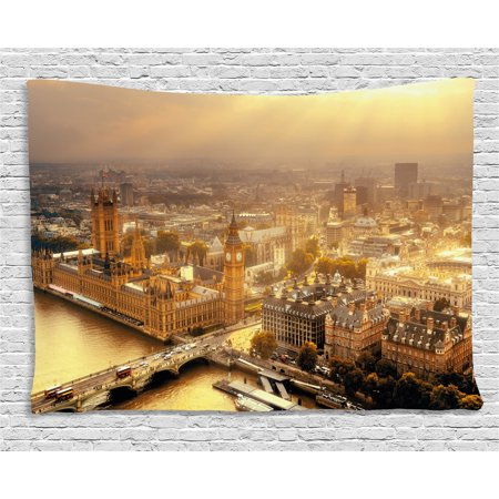 - Apartment Decor Tapestry, Westminster Aerial View with Thames River and London Urban Panoramic Picture, Wall Hanging for Bedroom Living Room Dorm Decor, 60W X 40L Inches, Gold Grey, by Ambesonne