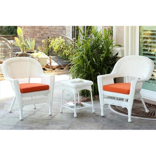 Jeco W00206_2-CES016 3 Piece White Wicker Chair And End Table Set With Orange Chair Cushion
