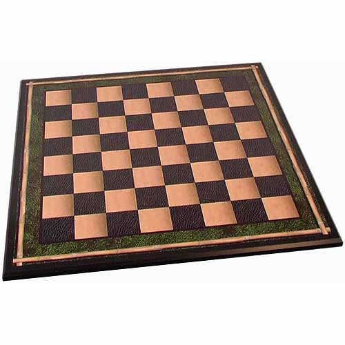 Nature Theme Chess Board, Black, Green, and Natural with Bamboo Border, 20.5""
