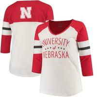 Nebraska Cornhuskers Pressbox Women's Plus Size Pomona 3/4 Sleeve V-Neck T-Shirt - Cream/Scarlet