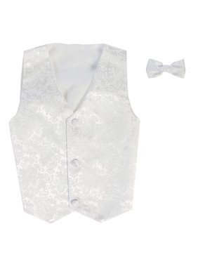 Boys White Paisley Poly Silk Vest Bowtie Special Occasion Set 8/10