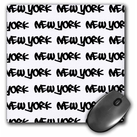 3dRose New York text design - black words on white - NY city souvenir NYC cool urban graffiti font pattern, Mouse Pad, 8 by 8 inches ()