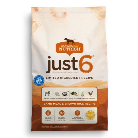 Rachael Ray Nutrish Just 6 Natural Dry Dog Food  Lamb Meal   Brown Rice Recipe  14 Lbs