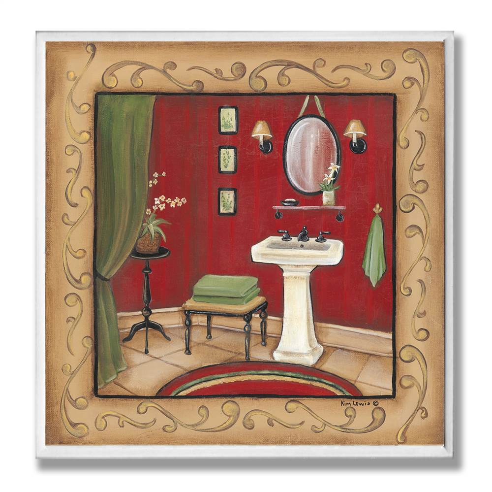 Red Sink with Scroll Border Wall Plaque