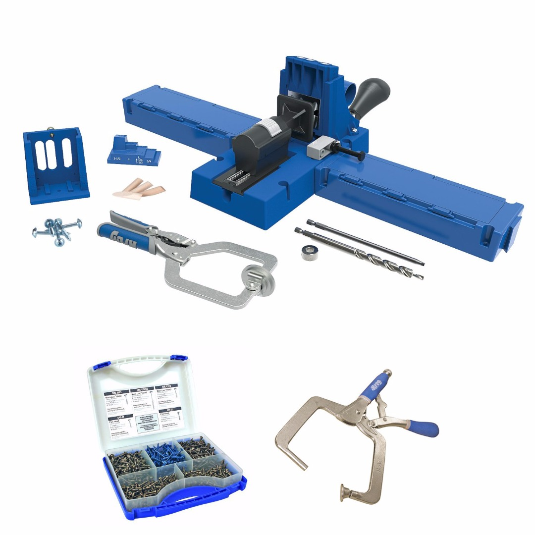 Kreg K5MS-KREG Jig K5 Master System Wood Clamp w/ Pocket-Hole Screw Kit (5-Sizes) & Right Angle Clamp