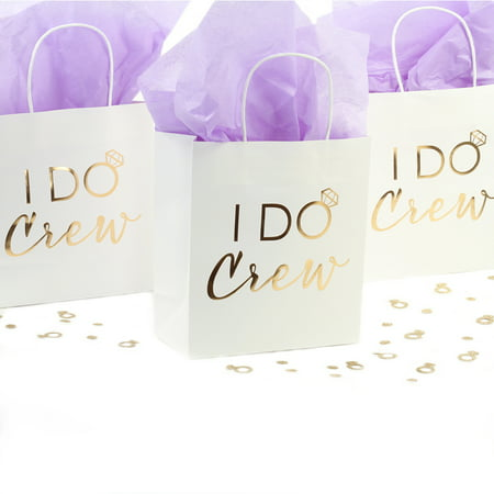 Andaz Press I Do Crew Gift Bags, Real Gold Foil in Bulk Set of 12 Pack, Wedding Party DIY Gift Bag with Handles - Diy Halloween Gift Bags