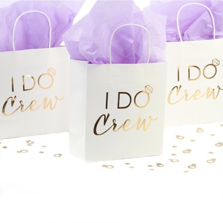 Andaz Press I Do Crew Gift Bags, Real Gold Foil in Bulk Set of 12 Pack, Wedding Party DIY Gift Bag with Handles