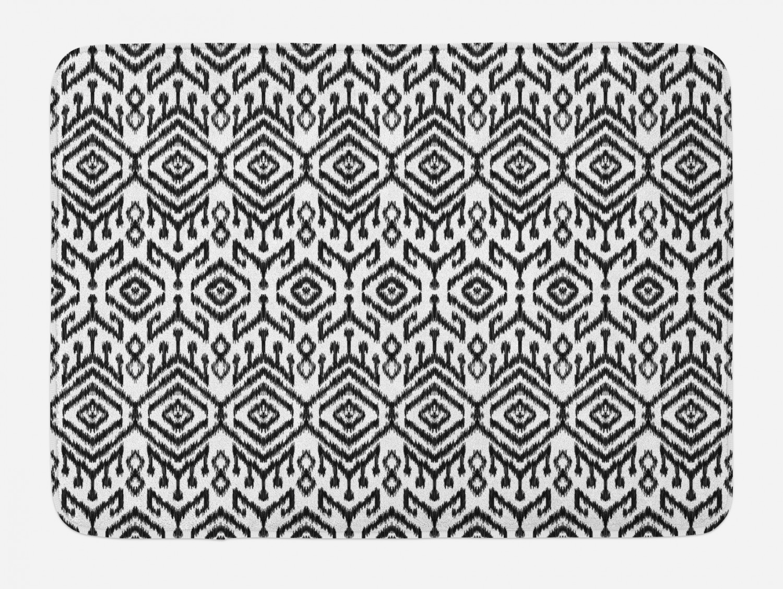 Black And White Bath Mat Monochrome Ikat Pattern Bohemian Ethnic Authentic Chevron Modern Scribble Non Slip Plush Mat Bathroom Kitchen Laundry Room Decor 29 5 X 17 5 Inches Black White Ambesonne Walmart Com