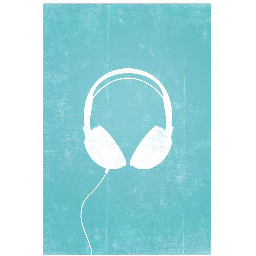 Circle Graphics Headphones Silhouette Art by Eazl Canvas Poster