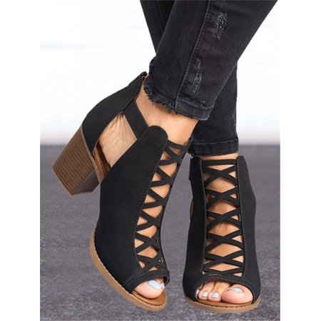 Women Arrival Solid Color Hollow Out Open Toe Width High Heel Sandals Sexy Shoes Ankle Shoes