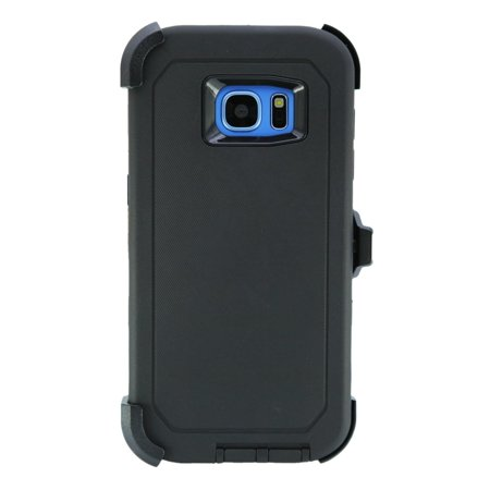 WallSkiN Turtle Series Cases for Samsung Galaxy S7 Edge (Only) Tough Protection with Kickstand & Holster - Belt Clip Works with Otterbox Defender Series Cases - Shadow