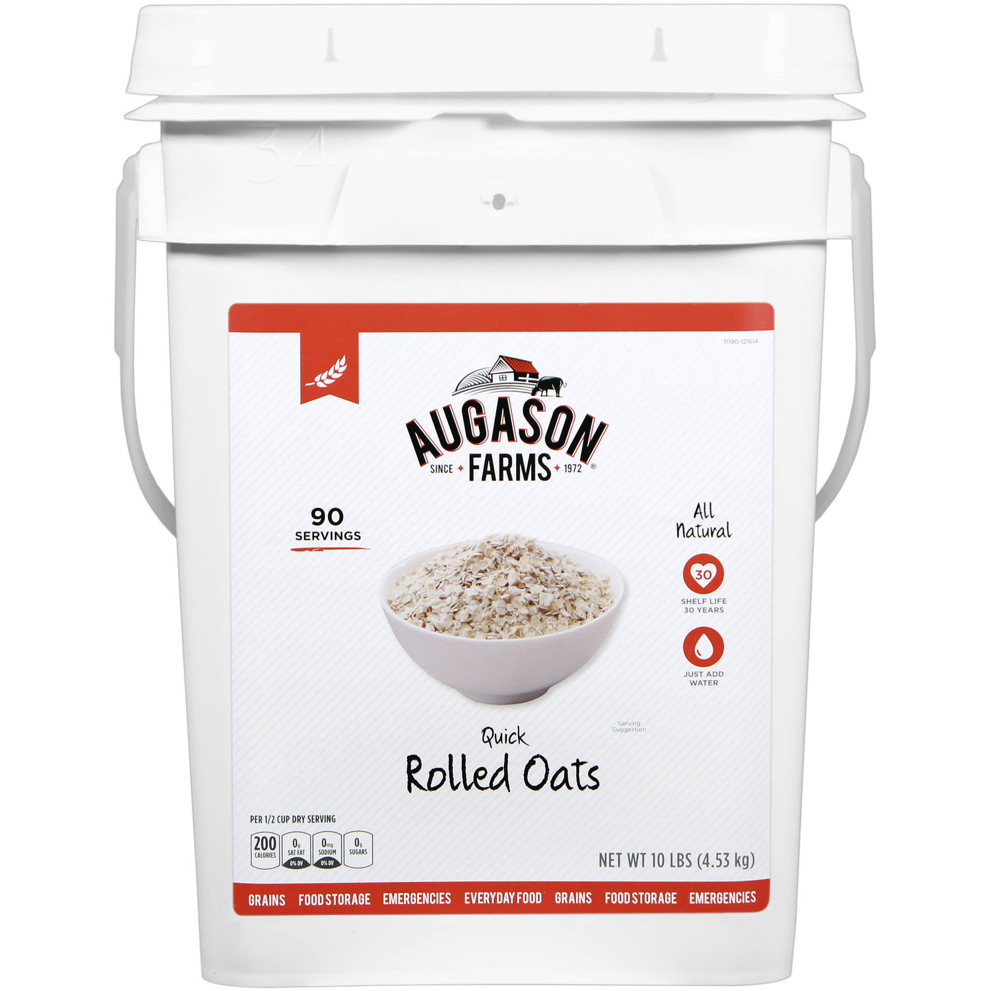 Augason Farms Emergency Food Quick Rolled Oats, 10 lb
