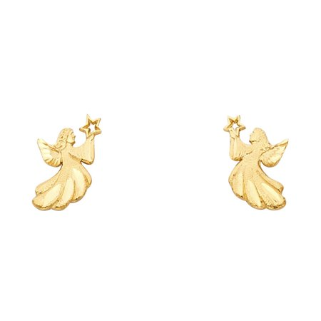 Jewels By Lux 14K Yellow Gold Small Angel Post Womens Stud Earrings 13MM X 7MM