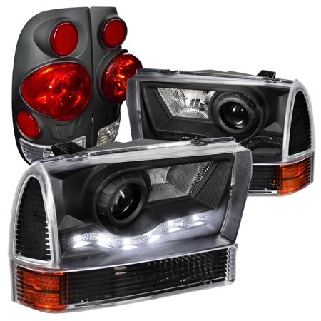 Spec-D Tuning For 1999-2004 Ford F250 Super Duty Style Side, Black Halo Proj Headlights, Corner, 3D Tail Lamps (Left+Right) 1999 2000 2001 2002 2003 2004