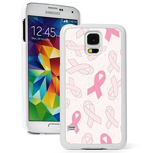 Samsung Galaxy S5 Hard Back Case Cover Pink Breast Cancer Awareness Ribbons Background (White)