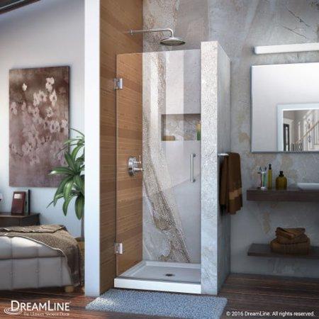 DreamLine Unidoor 26 in. W x 72 in. H Frameless Hinged Shower Door in Brushed Nickel