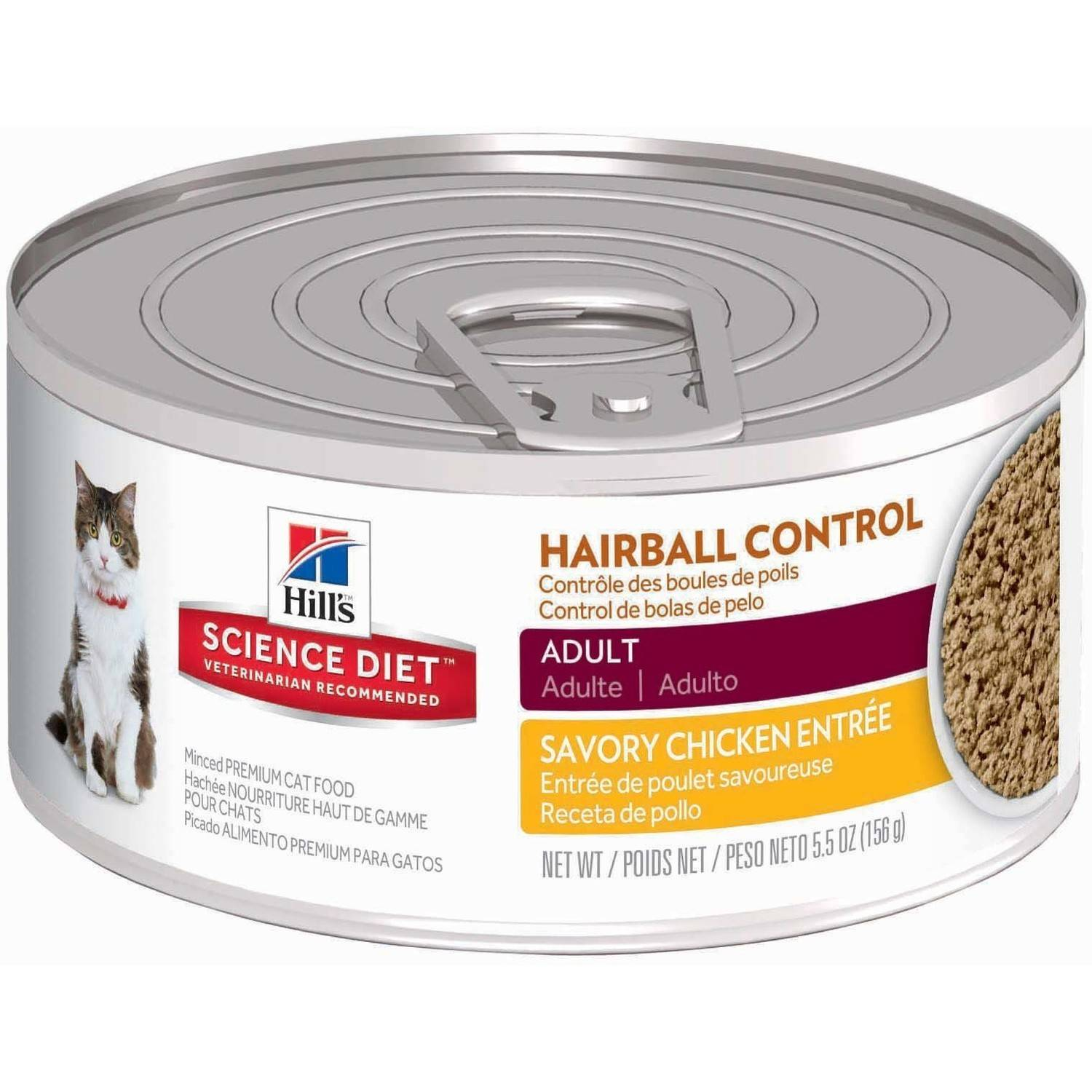 Hill's Science Diet (Get $5 back for every $20 spent) Adult Hairball Control Savory Chicken Entrée Canned Cat Food, 5.5 oz, 24-pack
