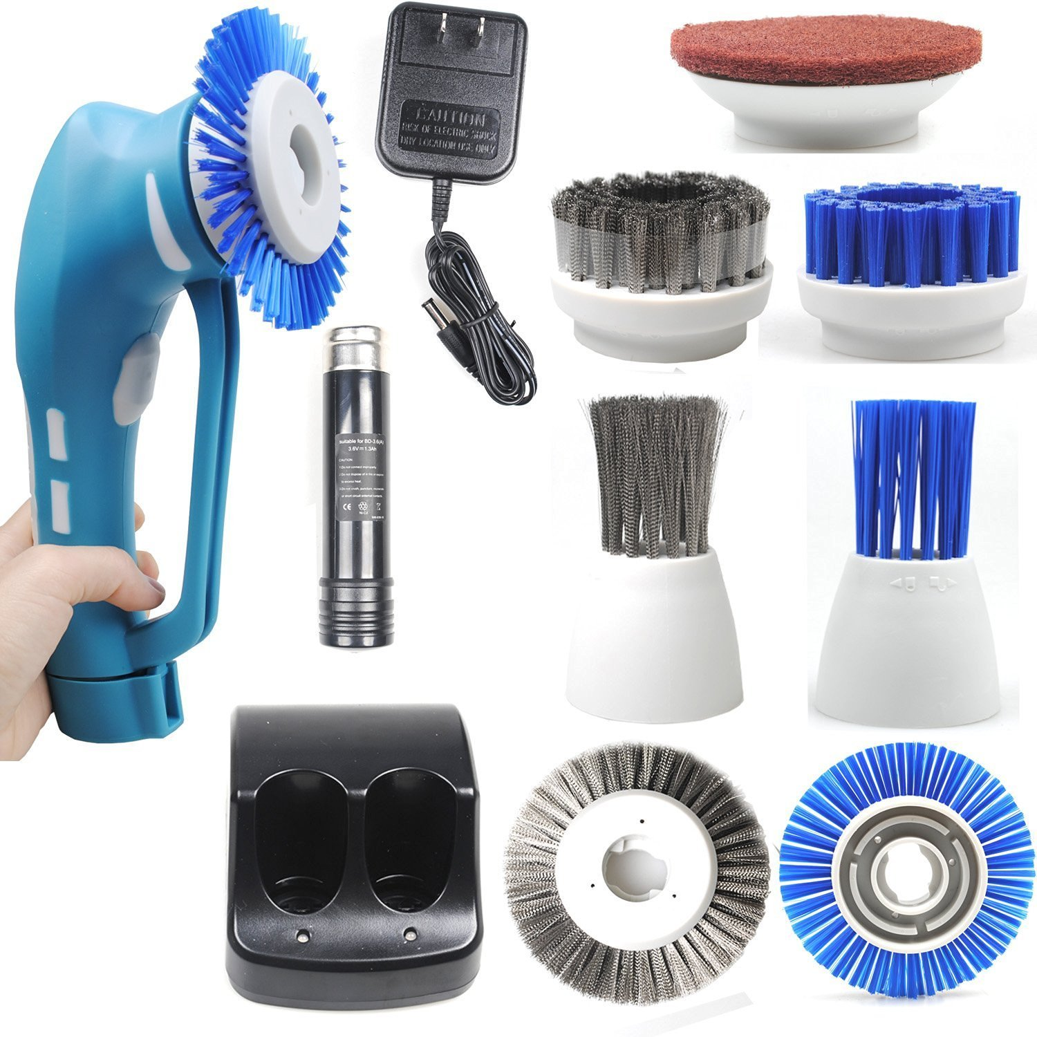 CUH Cordless Power Scrubber with Rechargeable Battery for Bathroom ...