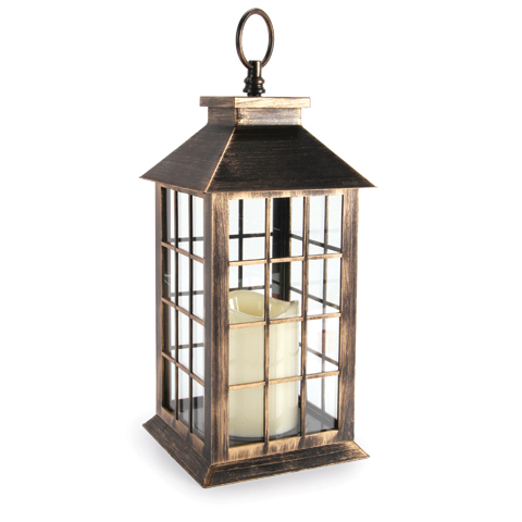 Brushed Lantern with Candle - Plastic - Antique Gold - 5.5 x 10.9375 inches