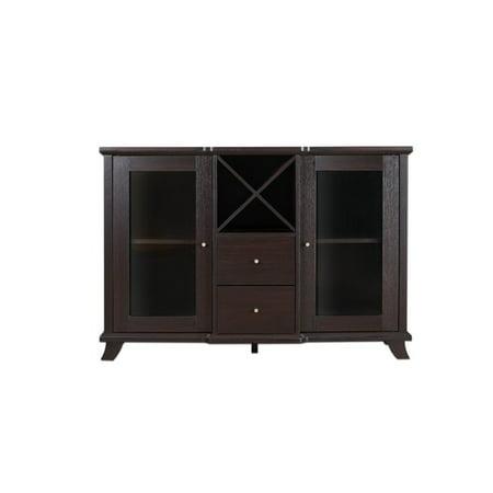 Furniture of America Anglex Transitional Wine Rack Buffet in Cappuccino ()